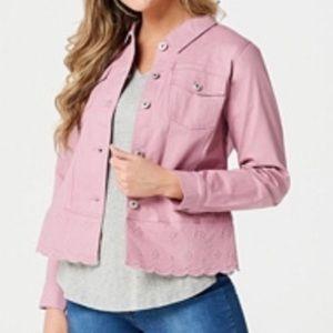 Studio by Denim&co twill jean jacket scalloped L